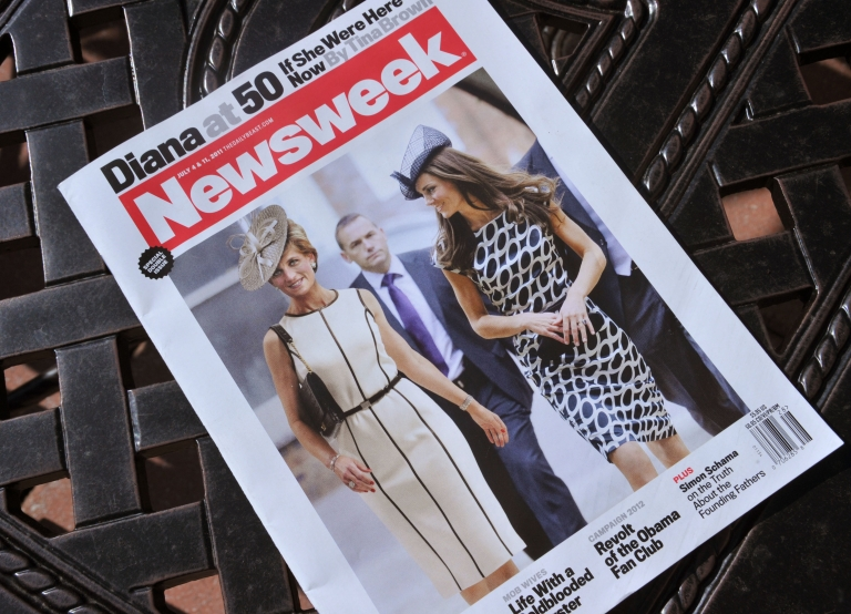<p>A Newsweek magazine is viewed on June 29, 2011 in Washington, DC from the July 4 and 11, 2011 double issue of 'Newsweek' featuring a cover photo that shows a computer-generated image of Princess Diana walking with Kate Middleton to depict what she might have looked like on her fiftieth birthday on July 1, 2011.</p>