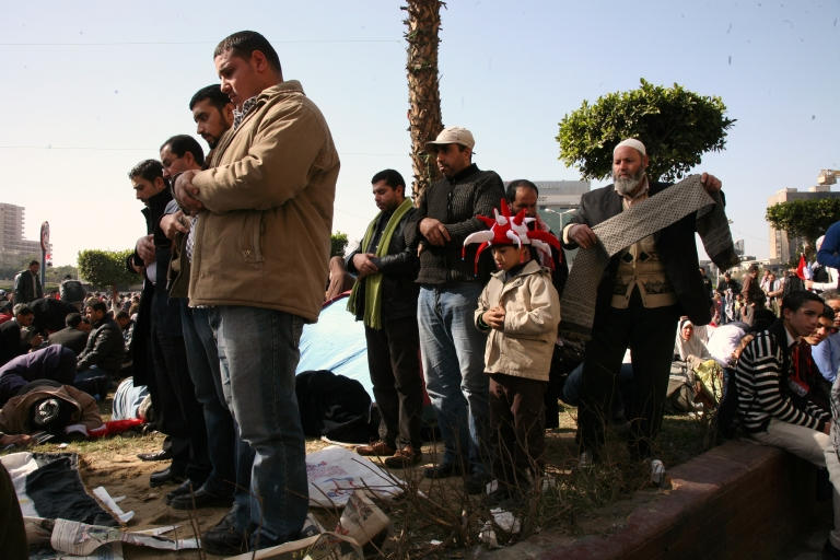 <p>Prayers in Tahrir Square. Since the January elections, the Muslim Brotherhood and the Salafists have gained a majority in Parliament, seen as a sign the country will move away from the secular regime style of former President Hosni Mubarak.</p>