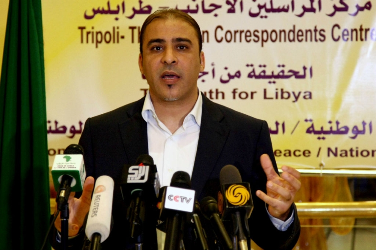<p>Moussa Ibrahim, spokesman for the Libyan regime, speaks at a press conference in Tripoli, on July 29, 2011.</p>