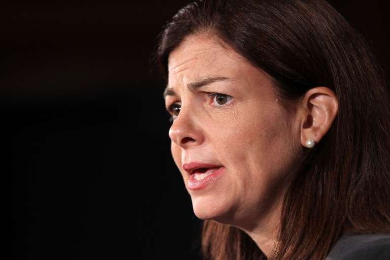 <p>US Sen. Kelly Ayotte (R-NH) speaks during a news conference September 8, 2011 on Capitol Hill in Washington, DC.</p>