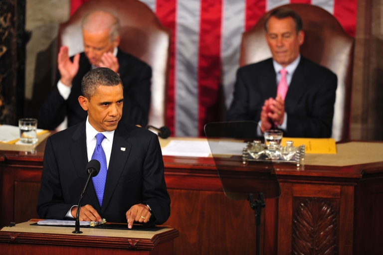 <p>President Barack Obama addresses a Joint Session of the United States Congress on Sept. 8, 2011, on Capitol Hill in Washington, DC. Obama Thursday unveiled a $447 billion jobs plan which he said would