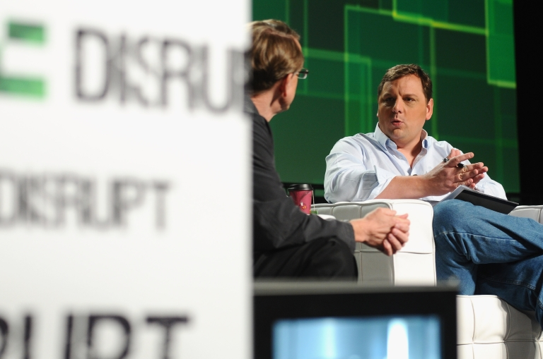 <p>Kleiner Perkins Caufield &amp; Byers partner John Doerr (L) and TechCrunch Founder and Co-Editor Michael Arrington speak onstage at Day 3 of TechCrunch Disrupt SF 2011 held at the San Francisco Design Center Concourse on September 14, 2011 in San Francisco, California.</p>