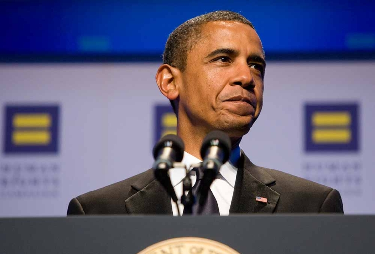 <p>U.S. President Barack Obama delivers remarks during the Human Rights Campaign's 15th Annual National Dinner at the Washington Convention Center on October 1, 2011 in Washington, DC. The President spoke to one of the leading gay rights groups two weeks after the repeal of the military's 'Don't Ask, Don't Tell' policy.</p>