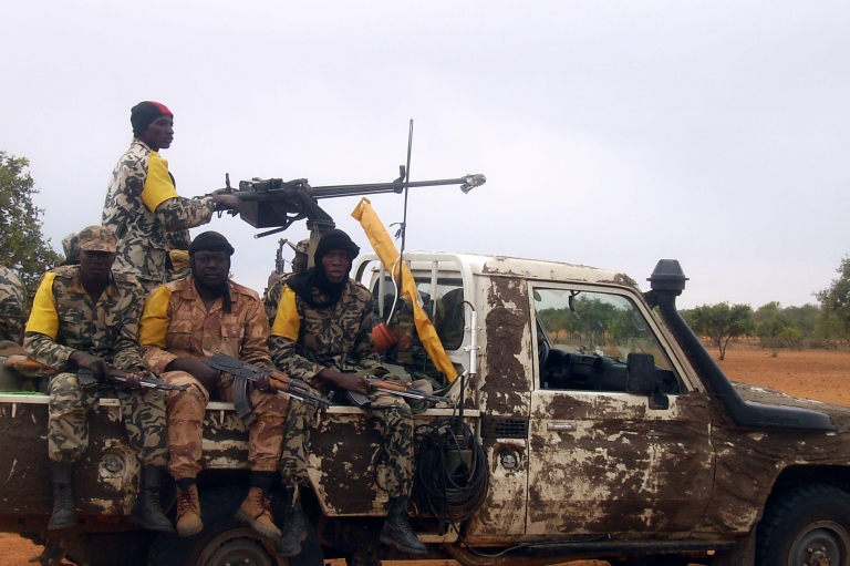 <p>Malian troops patrol the vast desert area near Mauritania in which Al-Qaeda in the Islamic Maghreb (AQIM) has conducted deadly operations.</p>