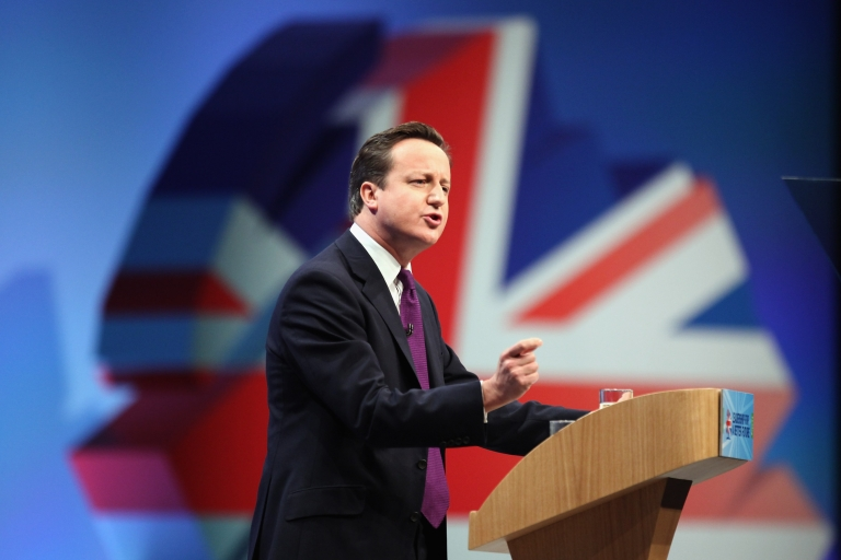 <p>British Prime Minister David Cameron delivers his keynote speech to delegates at the annual Conservative Party Conference at Manchester Central on October 5, 2011 in Manchester, England.</p>