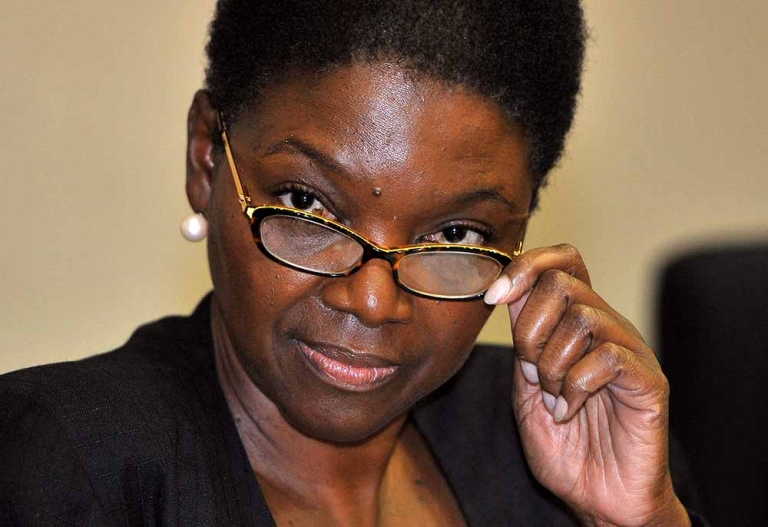 <p>United Nations humanitarian chief Valerie Amos adjusts her glasses as she listens to a question during a press briefing in Seoul on October 24, 2011. JUNG YEON-JE/AFP/Getty Images</p>