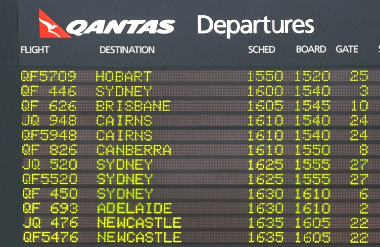<p>The departures board displays flights from Melbourne Airport on October 31, 2011.</p>