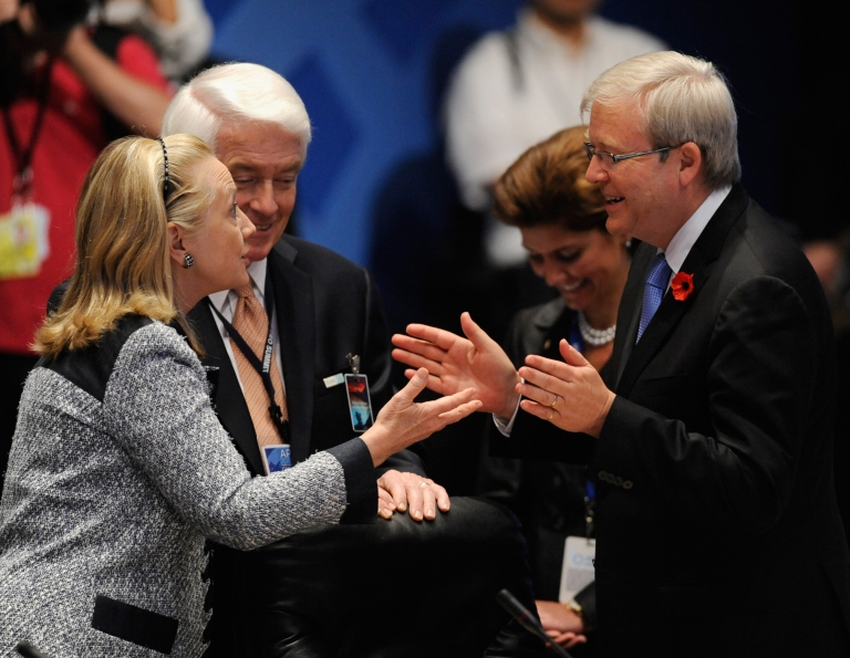 <p>US Secretary State Hillary Rodham Clinton speaks with Australia's Foreign Minister Kevin Rudd during happier times, at the APEC Disaster Resiliency Meeting during the 2011 APEC Summit on November 11, 2011 in Waikiki, Hawaii, when Rudd still had a job.</p>