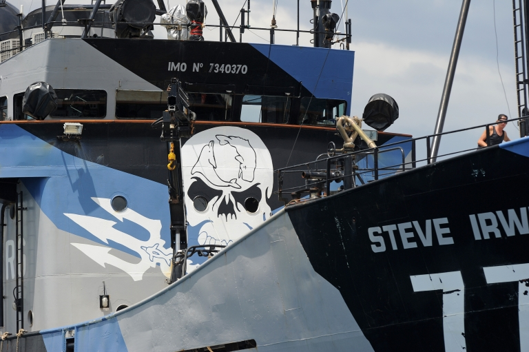<p>The ship Steve Irwin, from the fleet of environmental activist group Sea Shepherd, sits at anchor in Gage Roads off Fremantle near Perth on December 7, 2011.</p>