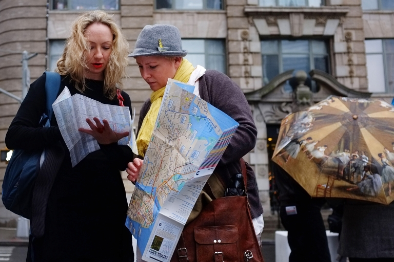 <p>Two women from Australia look at a map of Manhattan on December 21, 2011 in New York City.</p>