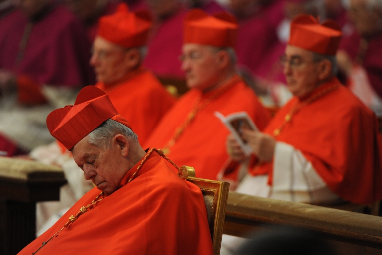 <p>Cardinals follow the Eucharist for the Solemnity of Epiphany lead by Pope Benedict XVI (not pictured) on January 6, 2012 at St Peter's basilica at the Vatican.</p>