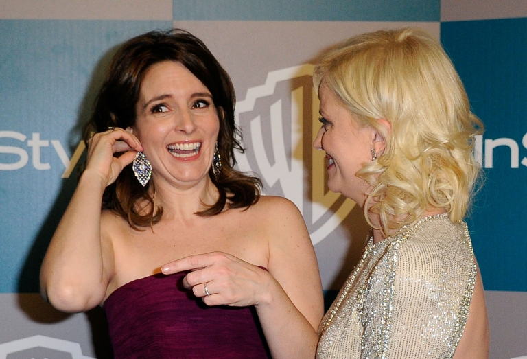 <p>Actors Tina Fey and Amy Poehler arrive at 13th Annual Warner Bros. And InStyle Golden Globe Awards After Party at The Beverly Hilton hotel on January 15, 2012 in Beverly Hills, California.</p>