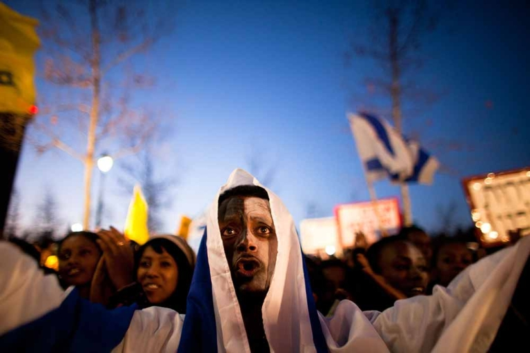 <p>Israelis, mainly of Ethiopian origin, demonstrate against discrimination of Ethiopian immigrants in front of the Knesset (Israeli Parliament) on January 18, 2012 in Jerusalem, Israel. According to Ethiopian residents of the southern town of Kiryat Malachi, housing committees in the city have been refusing to sell them apartments.</p>