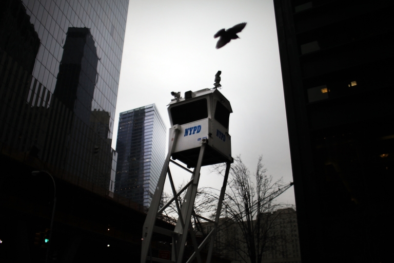 <p>A New York Police Department (NYPD) security outpost is viewed on January 26, 2012 in New York City.</p>