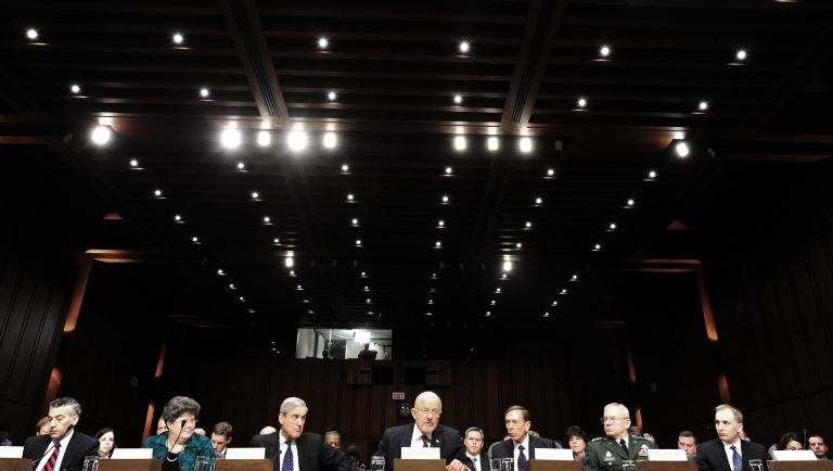 <p>Witnesses are seated as the US Senate Intelligence Committee holds a full committee hearing on