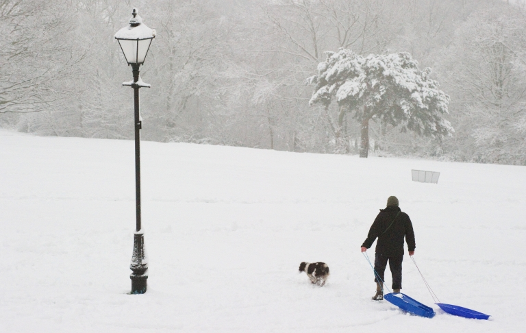<p>A man drags two sledges through the snow on the hill in Alexandra Park, north London on February 5, 2012.</p>