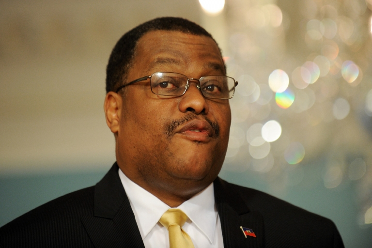 <p>Haiti Prime Minister Garry Conille speaks after meeting US Secretary of State Hillary Clinton in Washington, DC, on Feb. 8, 2012. Conille suddenly resigned today after just four months.</p>