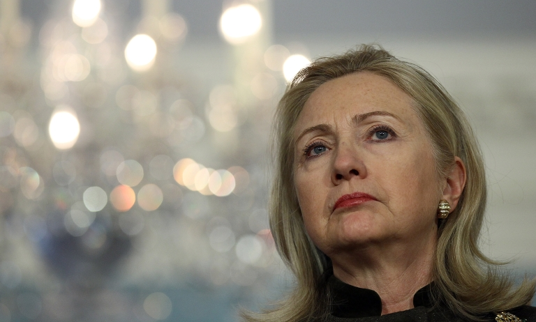 <p>Secretary of State HIllary Clinton pictured at the U.S. State Department February 13, 2012 in Washington, DC. Clinton had been meeting in Washington with Turkish Foreign Minister Ahmet Davutoglu on regional issues including Syria.</p>