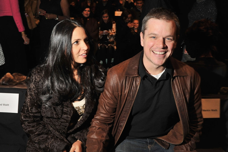 <p>Luciana Barroso and actor Matt Damon attend the Naeem Khan Fall 2012 fashion show during Mercedes-Benz Fashion Week at The Theatre at Lincoln Center on February 14, 2012 in New York City.</p>