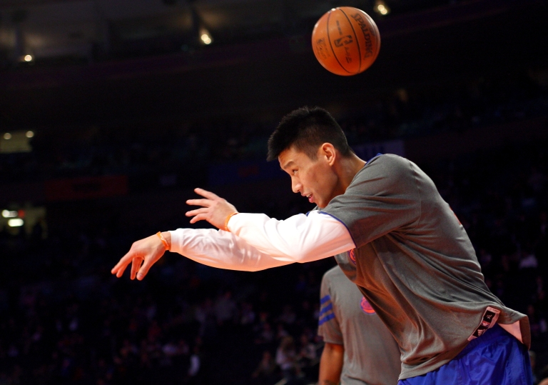 <p>Jeremy Lin at Madison Square Garden on February 10, 2012 in New York City.</p>