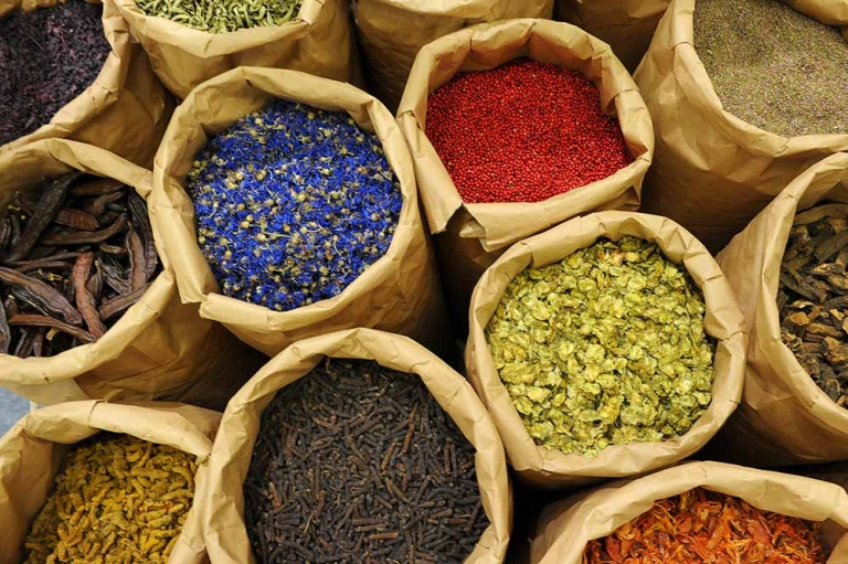 <p>Different herbs and spices are on display at a booth of the BioFach trade fair for organic products in Nuremberg, southern Germany, on February 15, 2012. DAVID EBENER/AFP/Getty Images</p>