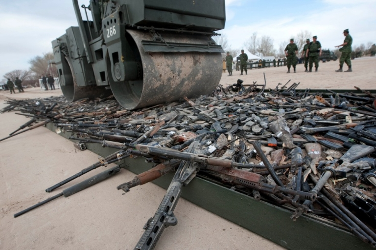 <p>Thousands of guns are destroyed in Ciudad Juarez, in Mexico's Chihuahua state, on Feb. 16.</p>