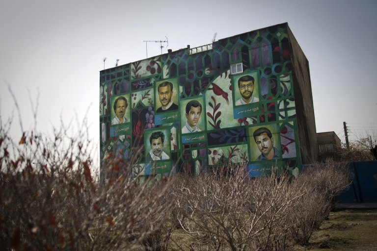 <p>A mural painting west of the Iranian capital Tehran depicts