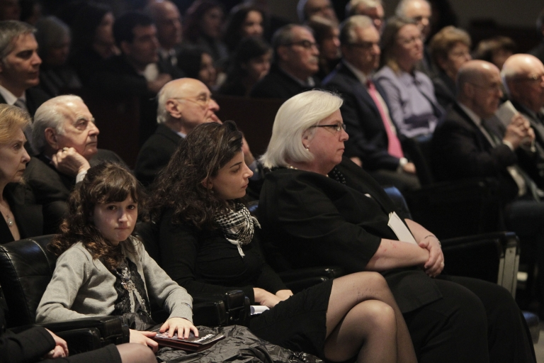 <p>From L to R: Leila Shadid and Nada Bakri, the daughter and wife of New York Times reporter Anthony Shadid, sit next to US Ambassador to Lebanon Maura Connelly during a memorial ceremony for the US journalist of Lebanese descent, who died last week in Syria of an asthma attack, held at the American University of Beirut (AUB) February 21, 2012.</p>