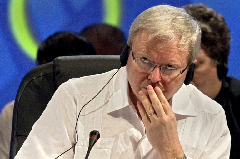 <p>Australian foreign minister Kevin Rudd participates in a session of the G20 Foreign Ministers Informal Meeting in Los Cabos, Baja California Sur state, Mexico.</p>