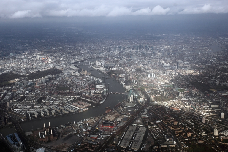 <p>An aerial view of the river Thames in Westminster from a commercial flight approaching Heathrow airport on February 21, 2012 in London, England.</p>