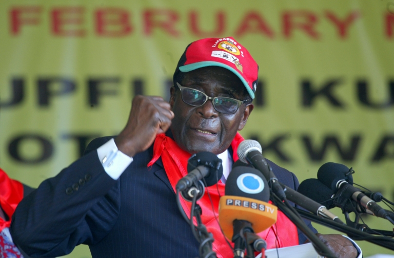 <p>Zimbabwe's President Robert Mugabe speaks during a rally marking his 88th birthday in Mutare on February 25, 2012.</p>