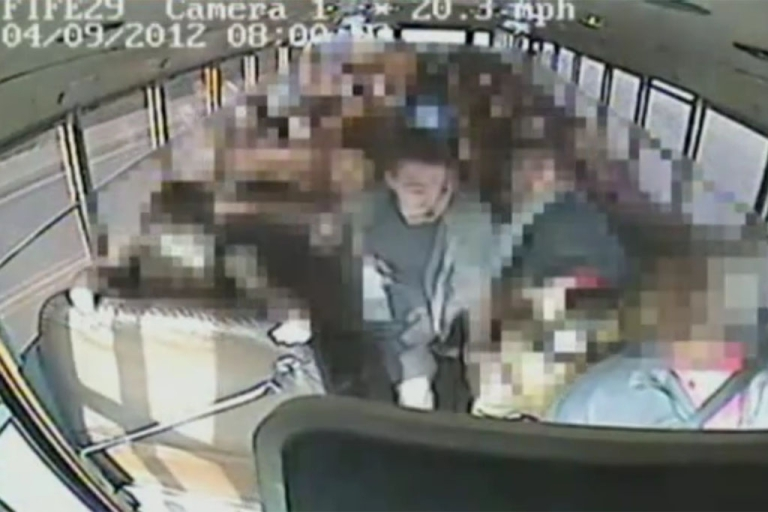 <p>This image from a school bus surveillance camera shows Jeremy Wuitschick, 13, steering the bus to safety after the driver's apparent heart attack.</p>