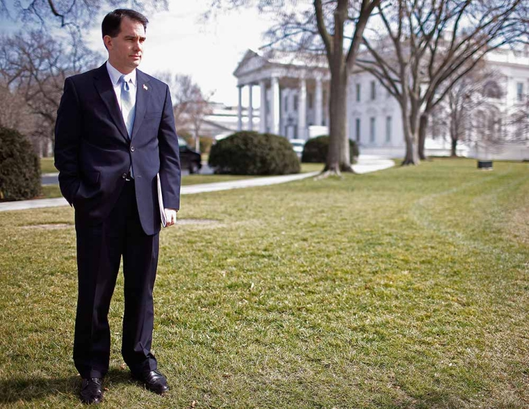 <p>Wisconsin Gov. Scott Walker stands on the North Lawn of the White House before making remarks to the news media after a meeting of the National Governors Association with President Barack Obama February 27, 2012 in Washington, DC.</p>