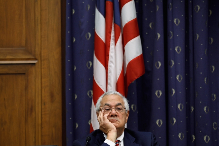 <p>House Financial Services ranking member Rep. Barney Frank (D-MA) listens to testimony from Federal Reserve Bank Board Chairman Ben Bernanke on Capitol Hill February 29, 2012 in Washington, DC.</p>