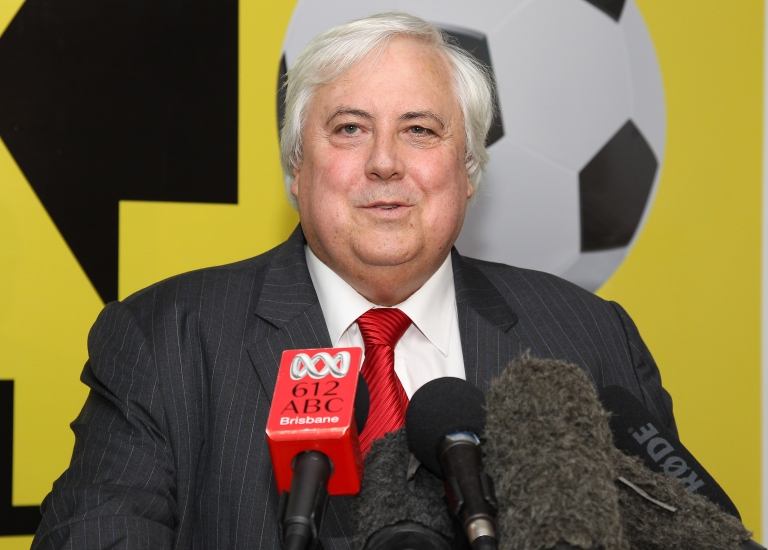 <p>Billionaire mining magnate Clive Palmer holds a press conference in Brisbane on March 1, 2012.</p>