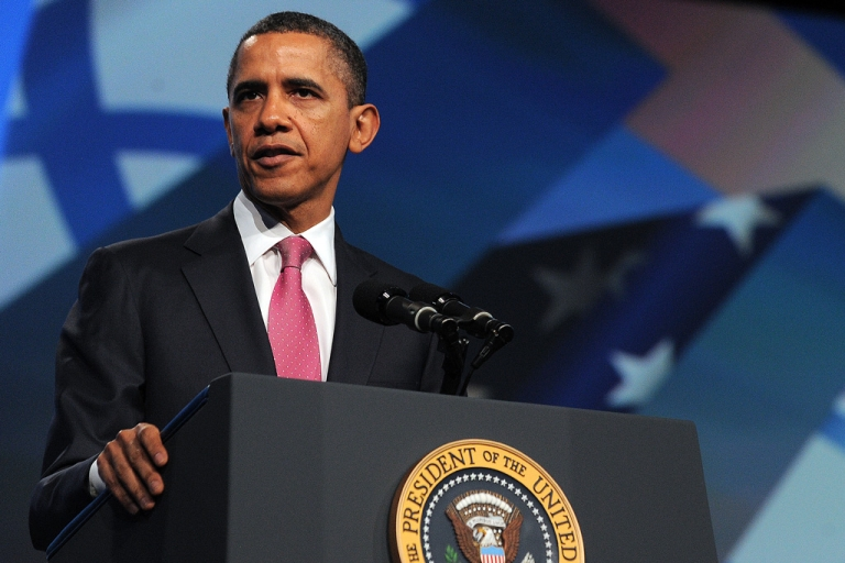 <p>US President Barack Obama speaks at the AIPAC conference at the Washington Convention Center today. Obama warned Iran that he would not hesitate to use force, if required, to stop it developing a nuclear weapon.</p>