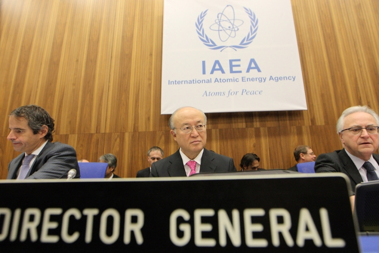 <p>International Atomic Energy Agency director general Yukiya Amano looks on during a board of governors meeting at the UN atomic agency headquarters in Vienna on Monday.</p>