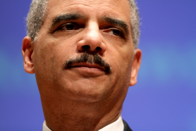 <p>US Attorney General Eric Holder gives a speach at Northwestern Law School on March 5, 2012 in Chicago, Illinois.</p>