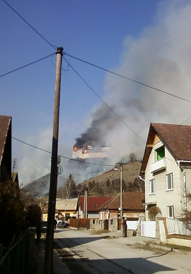 <p>The Krasznahorka castle above the village of Krasnohorske Podhradie burns after allegedly being sparked by two children smoking.</p>