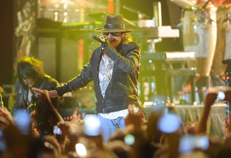 <p>Singer Axl Rose of Guns N' Roses performs at the Hollywood Palladium on March 9, 2012 in Hollywood, California.</p>