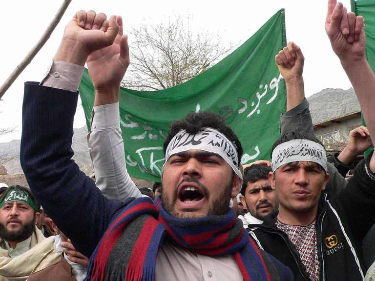<p>Afghan protestors shout anti-US slogans during a demonstration in Jalalabad, capital of Nangarhar province on March 13, 2012. Hundreds of university students took to the streets in Afghanistan's eastern city of Jalalabad to protest a rampage by a US soldier who killed 16 villagers, witnesses said.</p>