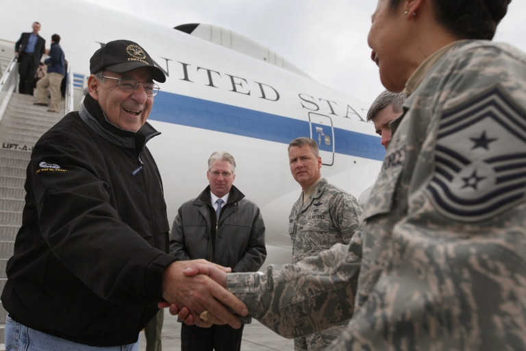 <p>Leon Panetta (L) is greeted arriving at the Manas air base on March 13, 2012 near Bishkek, Kyrgyzstan, on his way to Afghanistan.</p>