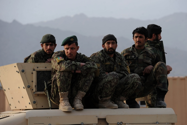 <p>Afghan National Army (ANA) soldiers in Usbeen village, in the Surobi district of Kabul province on March 14, 2012.</p>