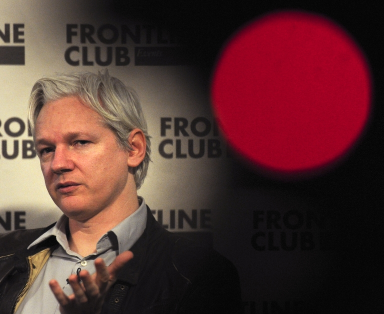<p>In a file photo taken on February 27, 2012, WikiLeaks founder Julian Assange talks during a press conference in central London.</p>