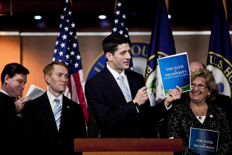 <p>House Budget Chairman U.S. Rep. Paul Ryan (R-WI) (C) and members of the House Budget Committee introduce the House FY2013 budget at a news conference at the Capitol on March 20, 2012 in Washington, D.C.</p>
