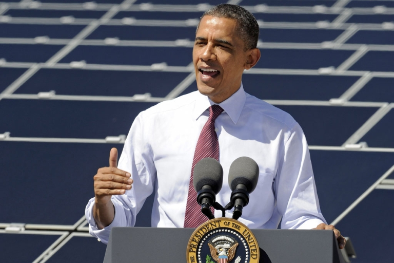 <p>U.S. President Barack Obama speaks at Sempra U.S. Gas &amp; Power's Copper Mountain Solar 1 facility in Boulder City, Nev., today. Obama is on a four-state tour promoting his energy policies. The Copper Mountain solar facility is the largest operating photo-voltaic plant operating in the country.</p>