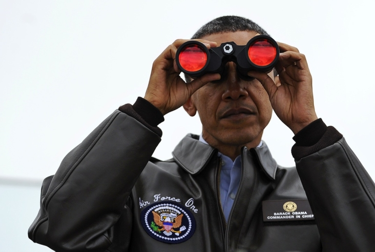<p>US President Barack Obama looks through binoculars towards North Korea from Observation Post Ouellette during a visit to the Joint Security Area of the Demilitarized Zone (DMZ).</p>