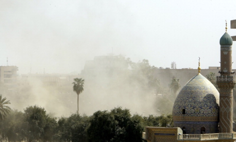 <p>Smoke billows following a blast near the Iranian embassy in Baghdad on the outskirts of the Iraqi capital's heavily-fortified Green Zone on March 29, 2012 as a landmark Arab summit opened. The blast came despite strict security measures by the Iraqi government, which had 100,000 security forces members on alert in Baghdad, and effectively locked down the city.</p>