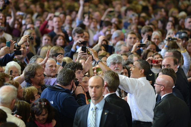 <p>US President Barack Obama greets supporters during a campaign event at University of Vermont in Burlington today. Obama stopped in Vermont and Maine to attend fundraising events.</p>
