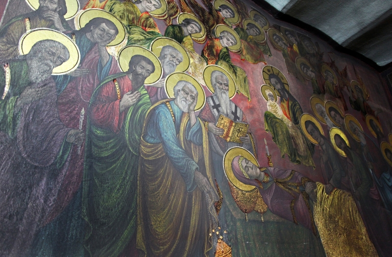 <p>Picture taken on April 9, 2012 shows a fresco at the St. Dimitrija Church in Skopje where frescoes have begun to shine on their own.</p>